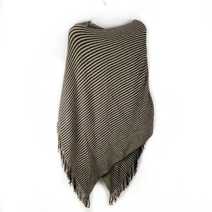 2 Chic brown and tan striped knit poncho NWT